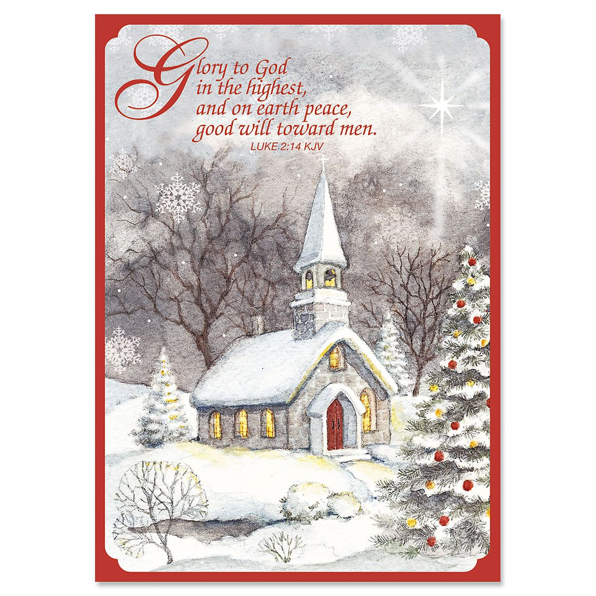 Snowy Church Christmas Cards - Nonpersonalized