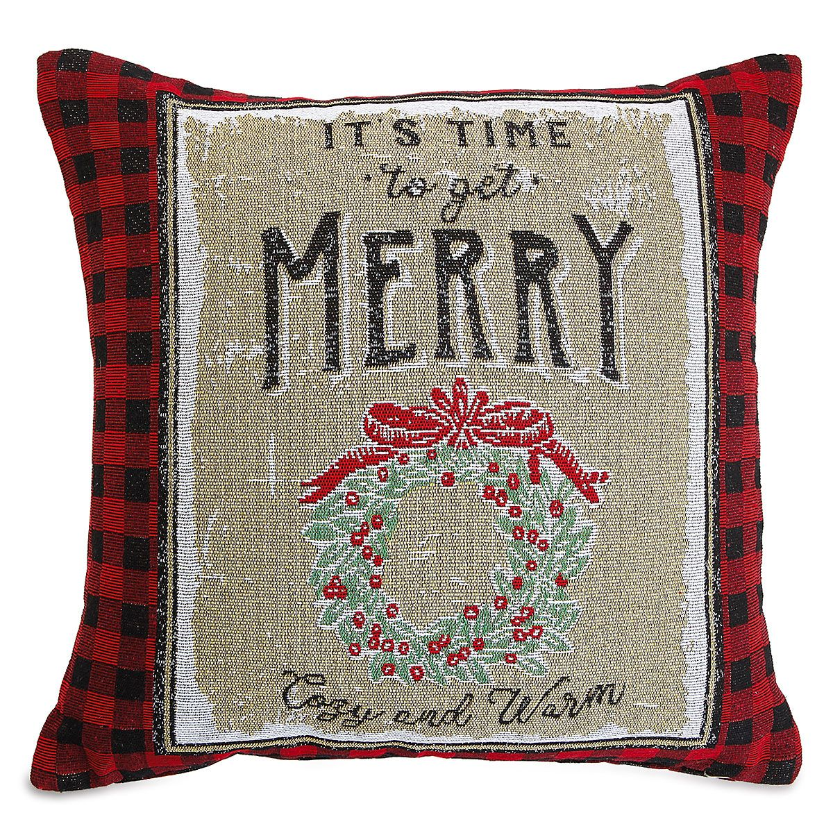 Get Merry Decorative Christmas Pillow