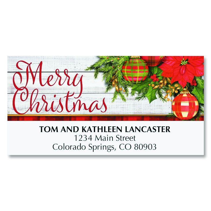 Plaid Christmas Deluxe Address Labels