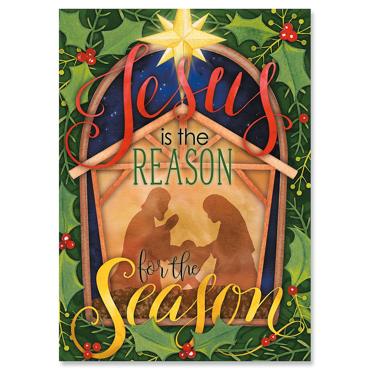Nativity and Holly Religious Christmas Cards