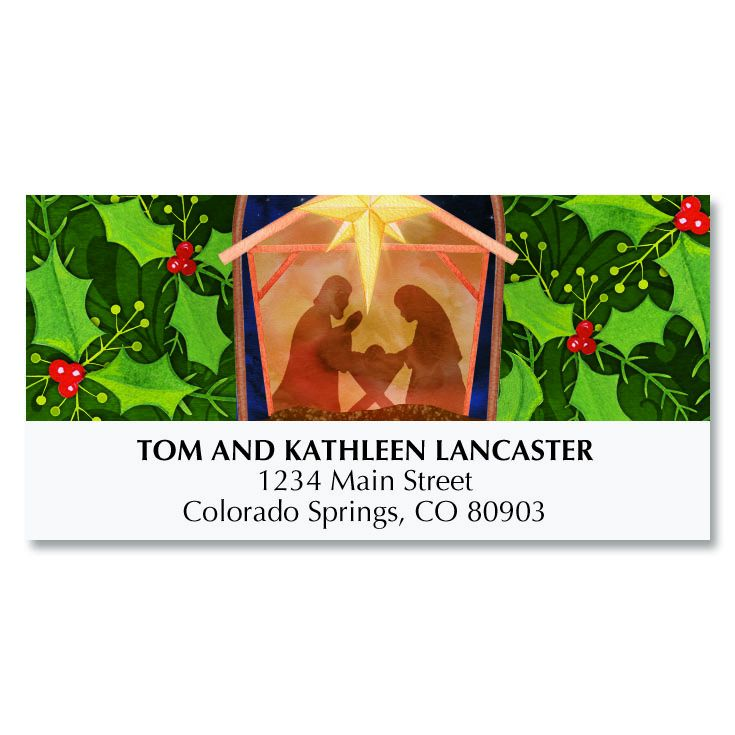 Nativity and Holly Deluxe Address Labels