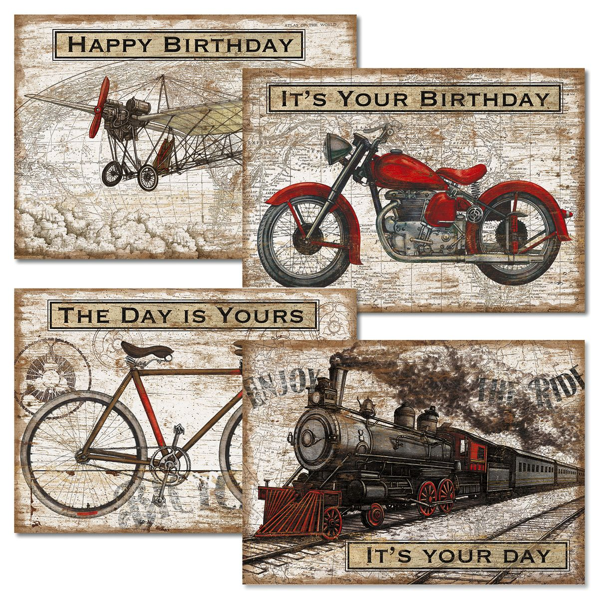 Vintage Transportation Birthday Cards and Seals