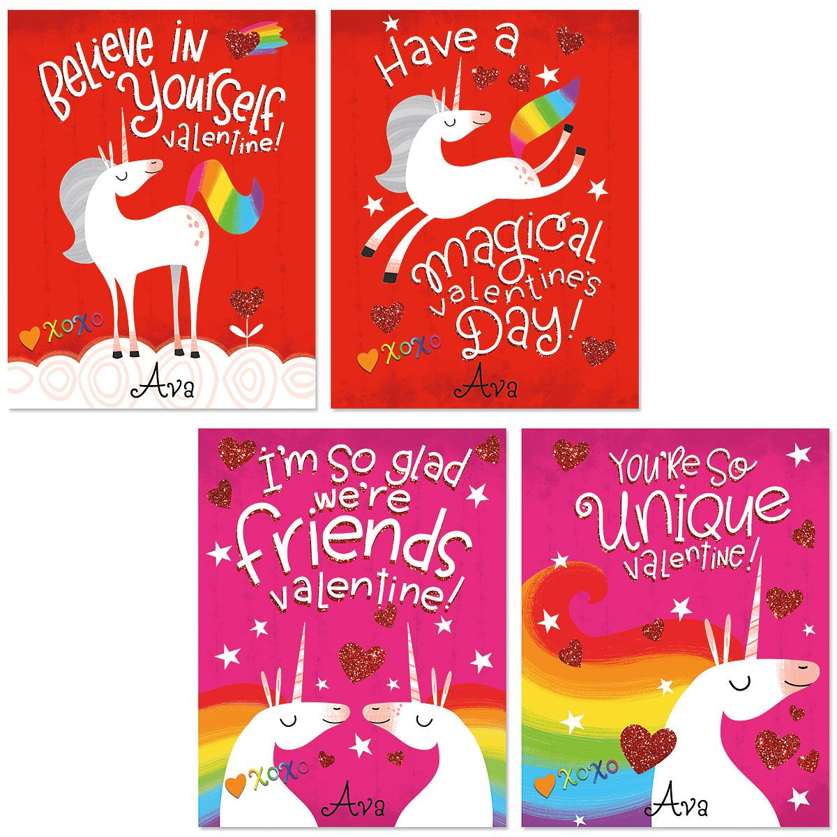 Personalized Unicorn Love Valentines