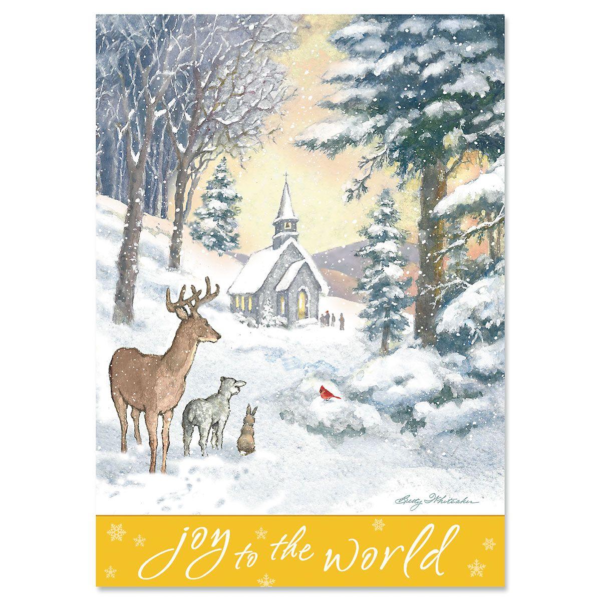 Evening Church Religious Christmas Cards