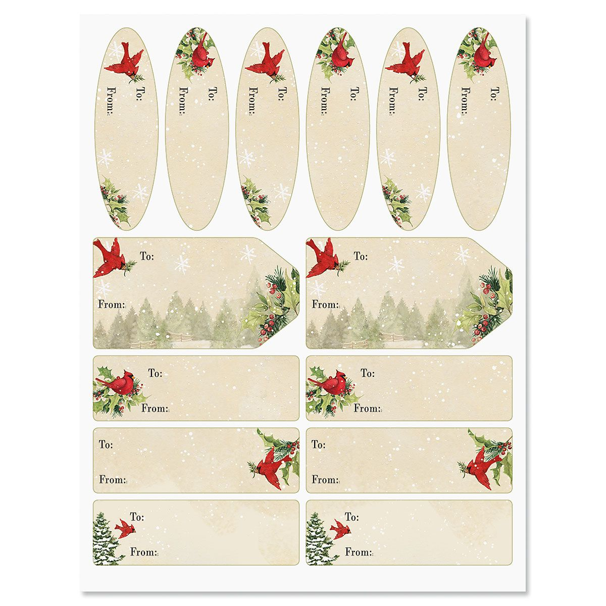 Tree & Cardinal Christmas Gift Labels