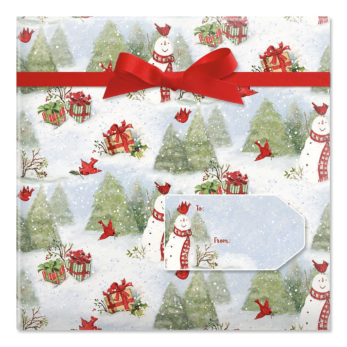 Snowy Cardinals Jumbo Rolled Gift Wrap and Labels