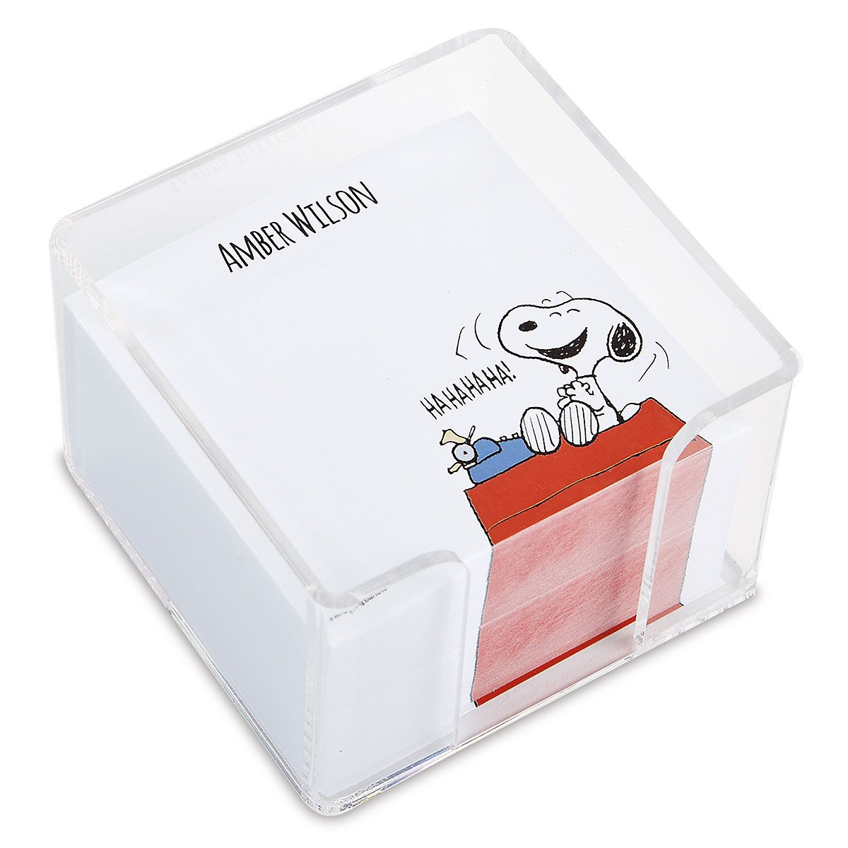 Snoopy's Typewriter Personalized Note Sheets in a Cube