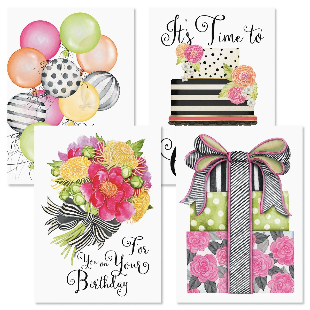 Striped Celebration Birthday Cards and Seals
