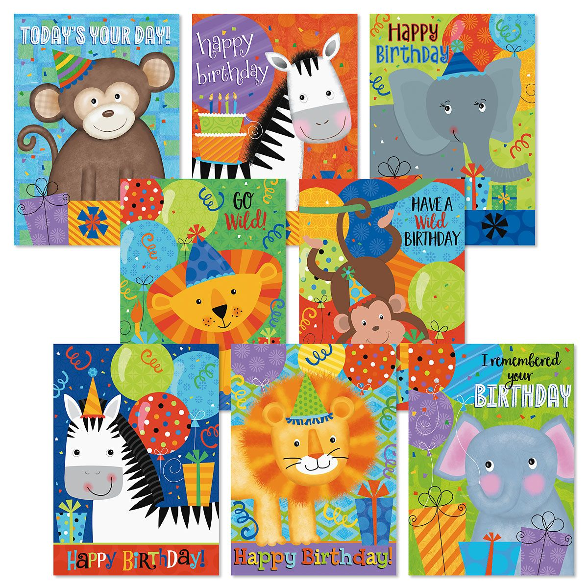 Jungle Friends Birthday Cards Value Pack