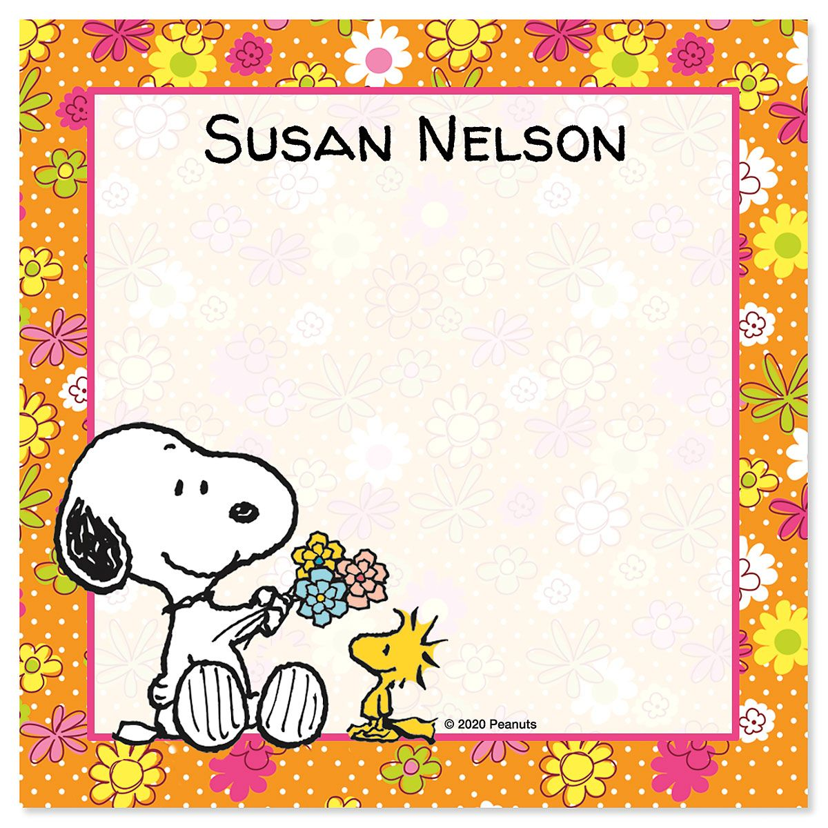 Snoopy™ Personalized Note Sheets in a Cube