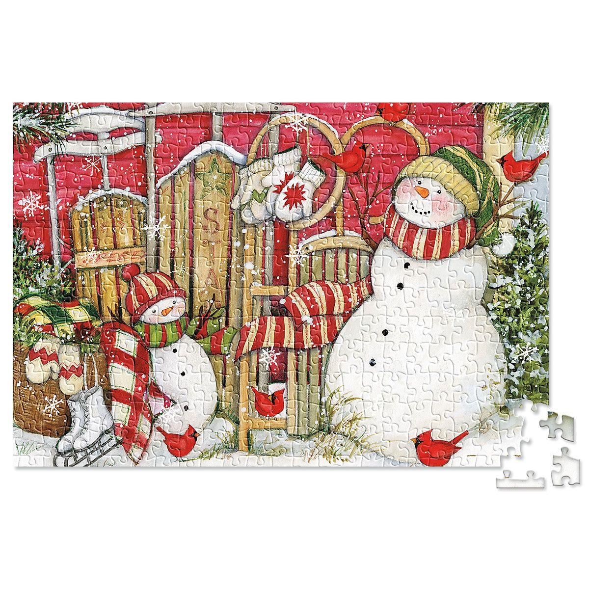 Heart Sled & Snowmen Puzzle