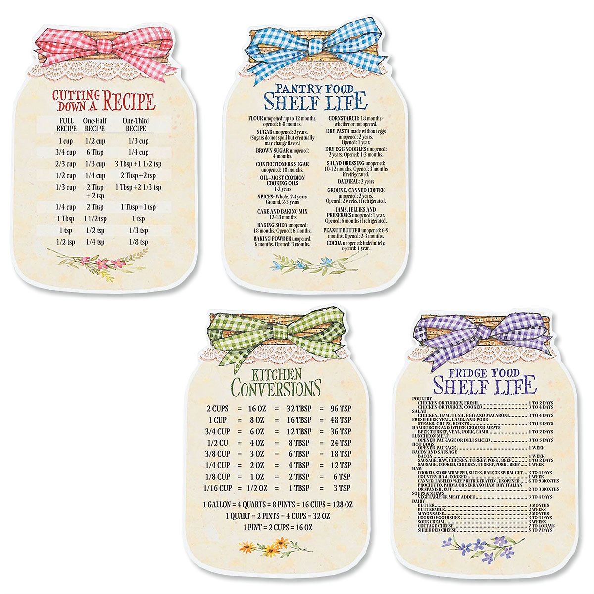 Mason Jars Chart Magnets Decorate your fridge with useful information in American country style. Great stocking stuffers and party favors Each is 6-1/4 H Set of 4