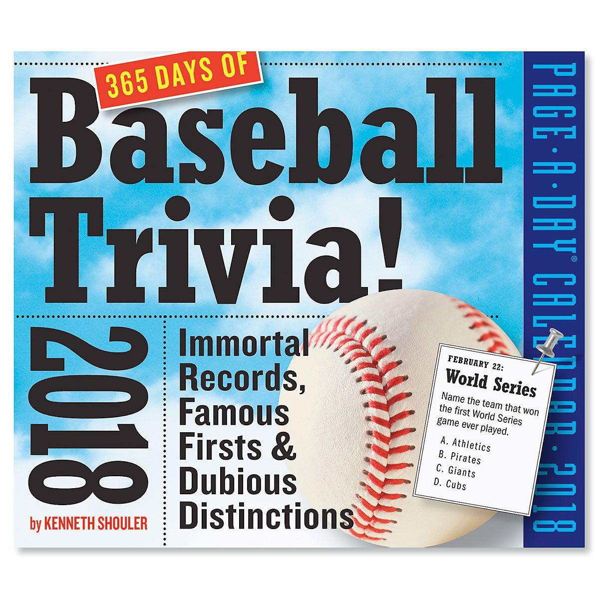 2018 Sports Trivia Calendar - Baseball
