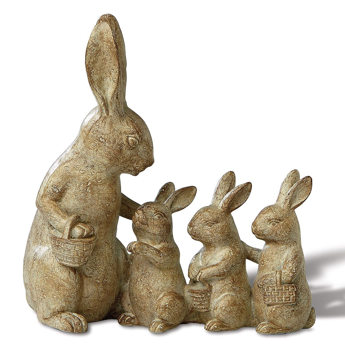 Natural Bunny Family Figurine