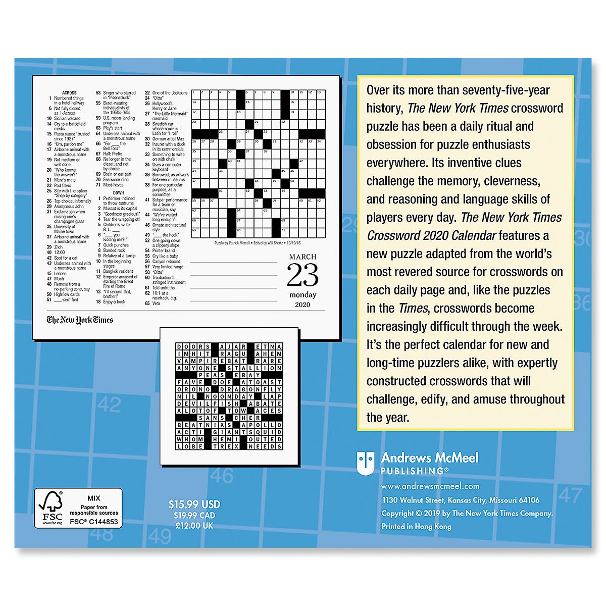 New York Times Crossword Puzzles 2020 Calendar