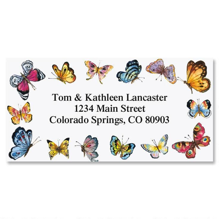 Butterfly Border Border Address Labels