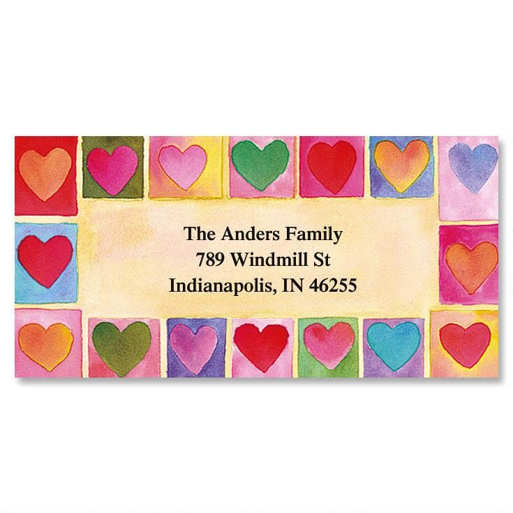 Hearts On Parade Border Address Labels