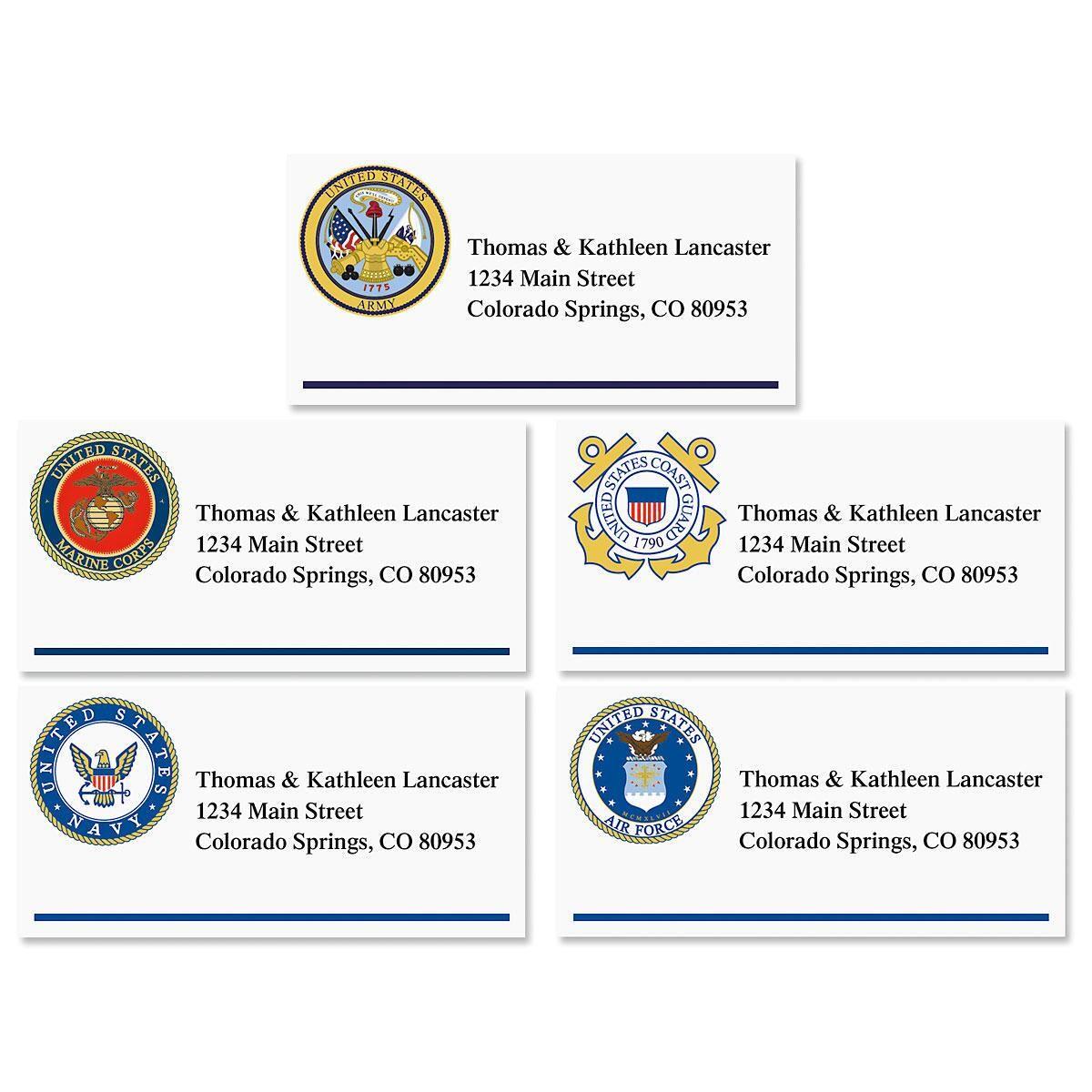 Military Emblem Border Address Labels  (5 designs)