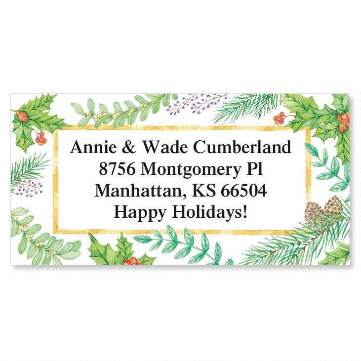 Xmas Greenery Border Label