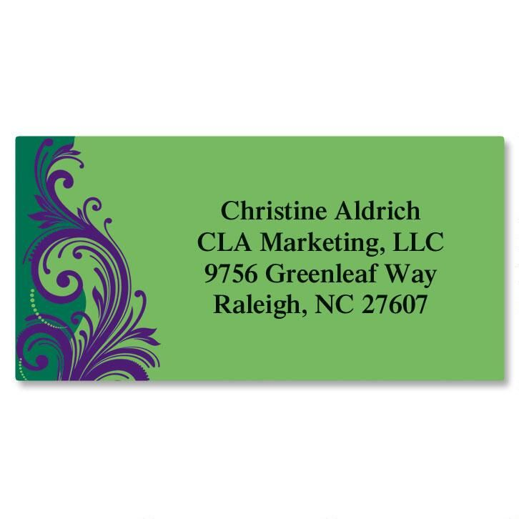 Emerald & Royal Border Address Labels