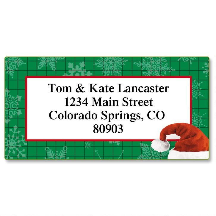 Santa Hat Border Address Labels