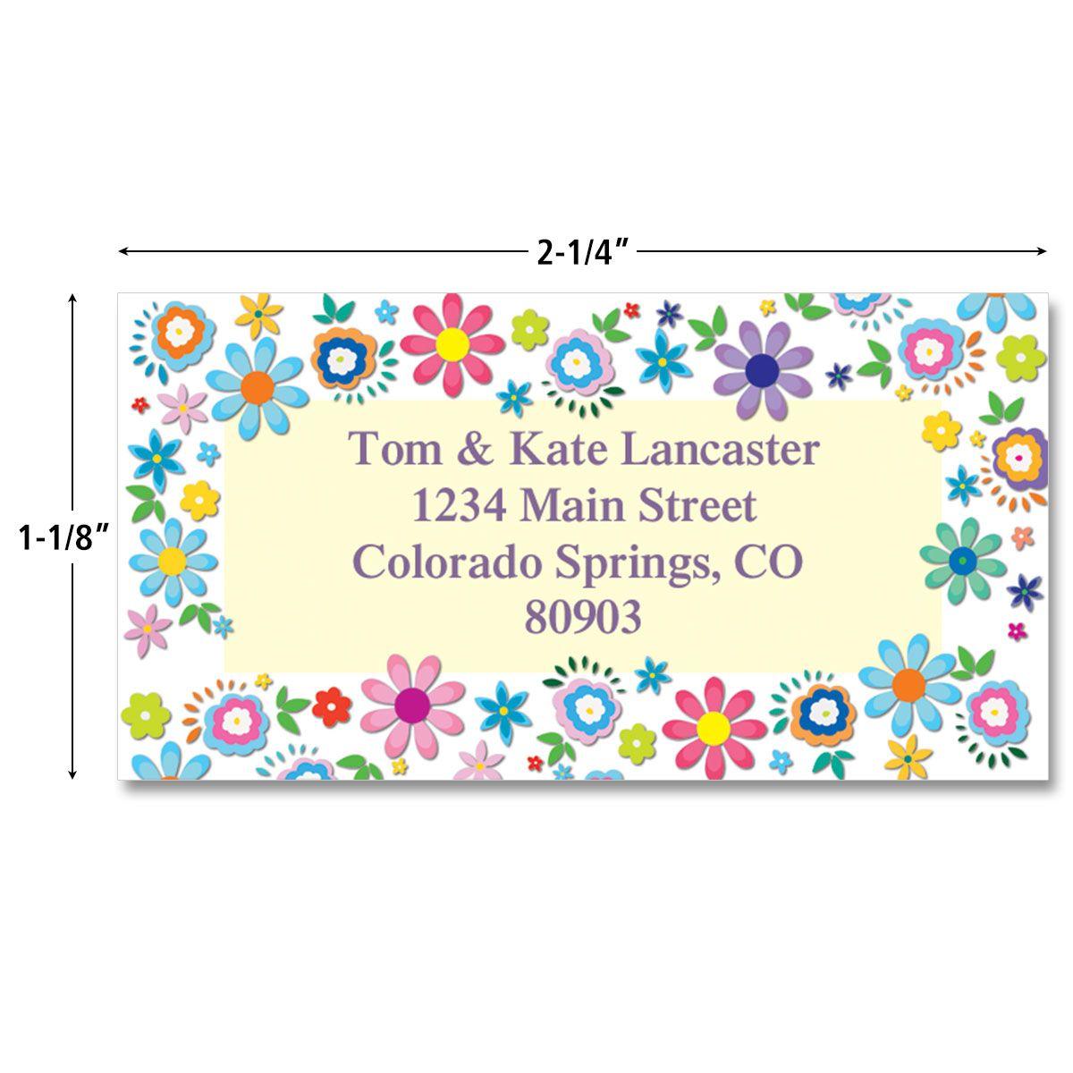 Cheerful Florals Border Address Labels