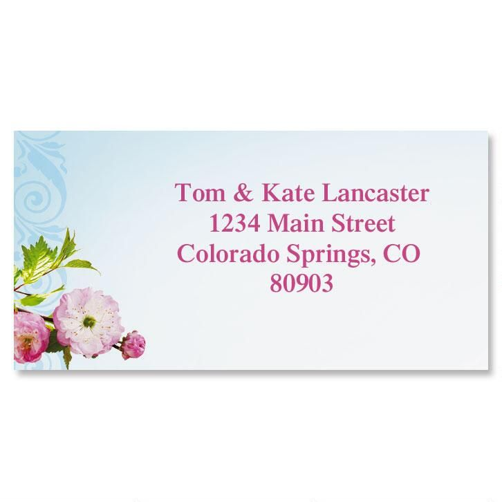 Cherry Blossom Border Address Labels