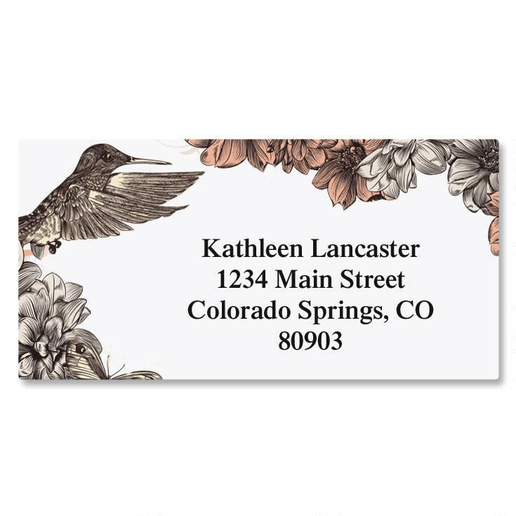 Hummingbird Garden Border Address Labels