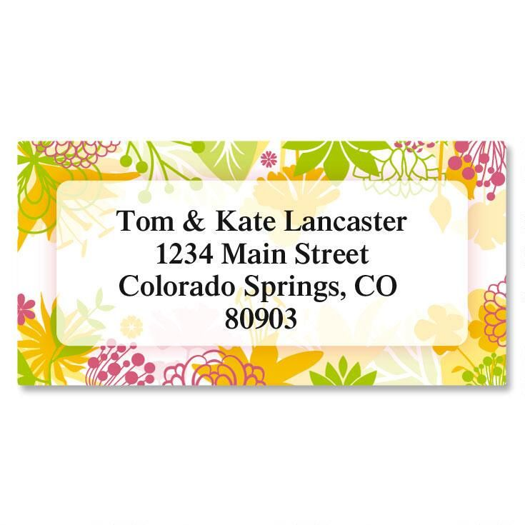 Botanical Brights Border Address Labels