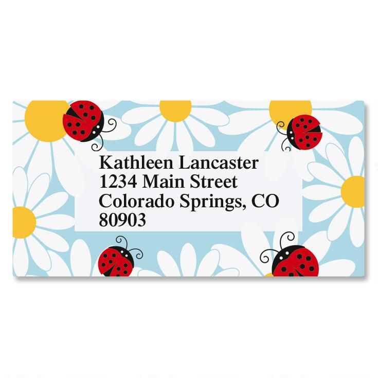 Ladybug Daisy Border Address Labels