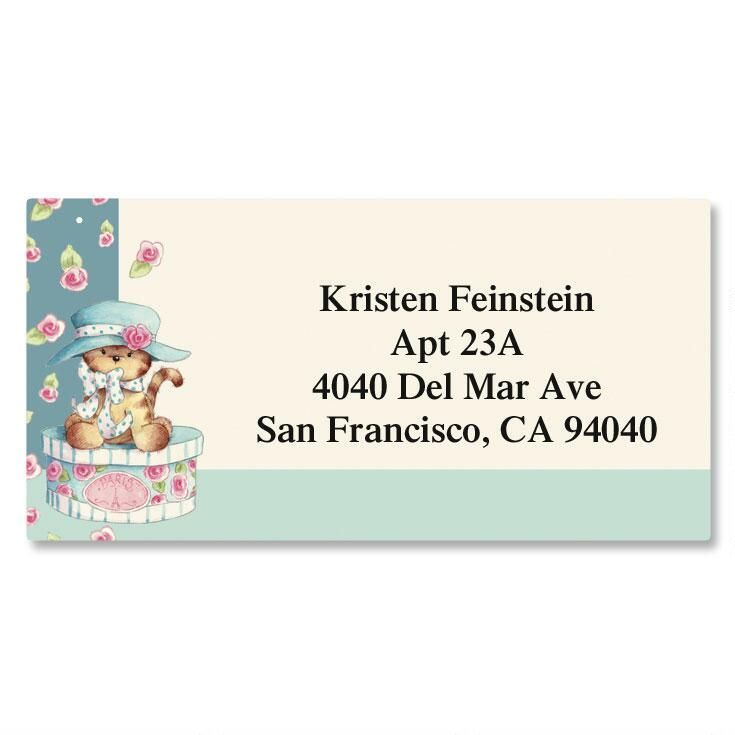 Hat Box Kitten Border Address Labels