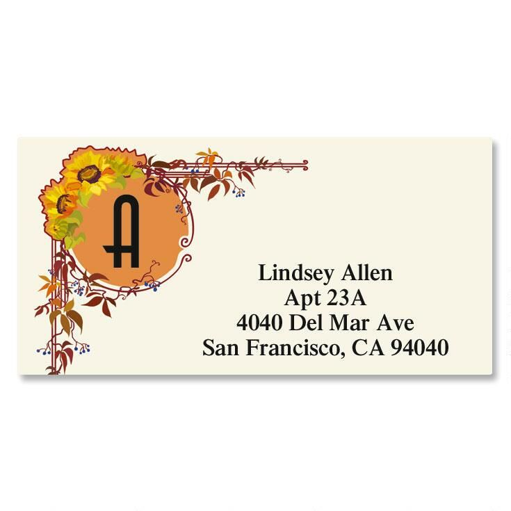 Sunflower Nouveau Border Address Labels