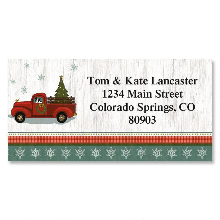 Holiday Truck Border Address Labels