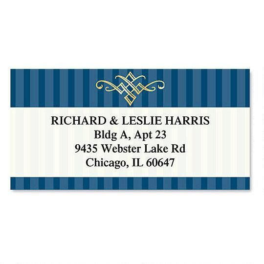Navy Pinstripe Foil Border Address Labels