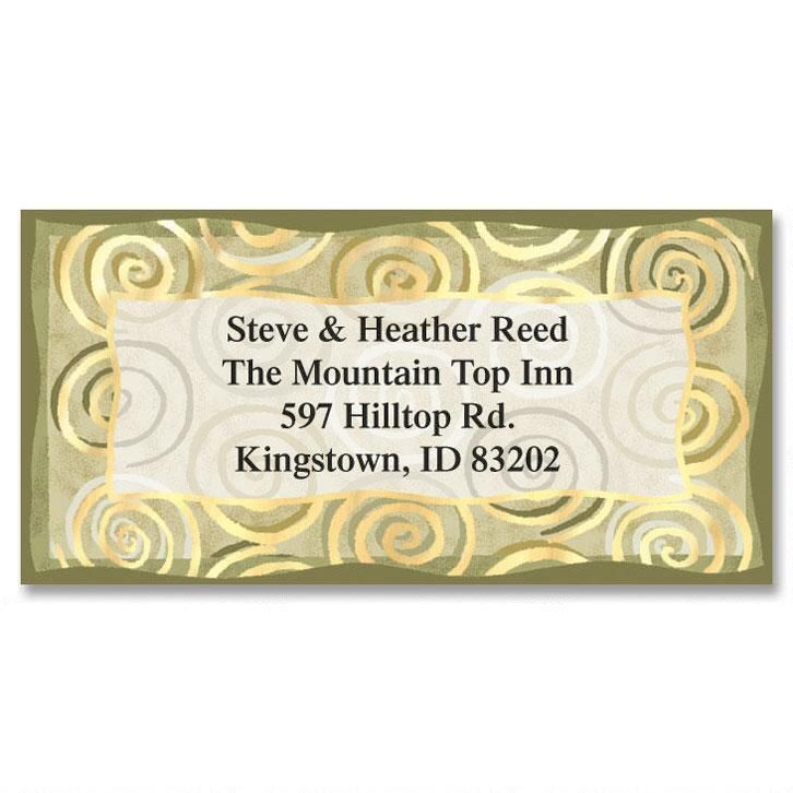Golden Spiral Foil Border Address Labels