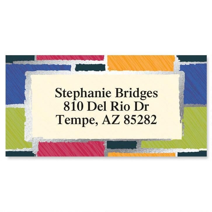 Patchwork Foil Border Address Labels