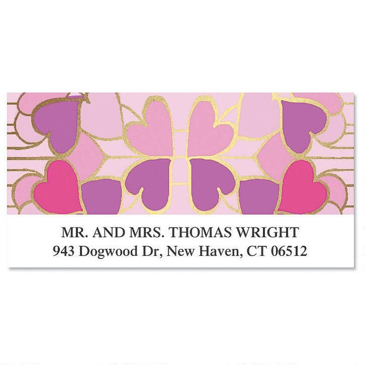 Dancing Hearts Foil Deluxe Address Labels