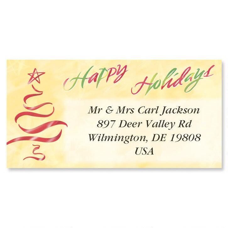 Holiday Tree Foil Border Address Labels