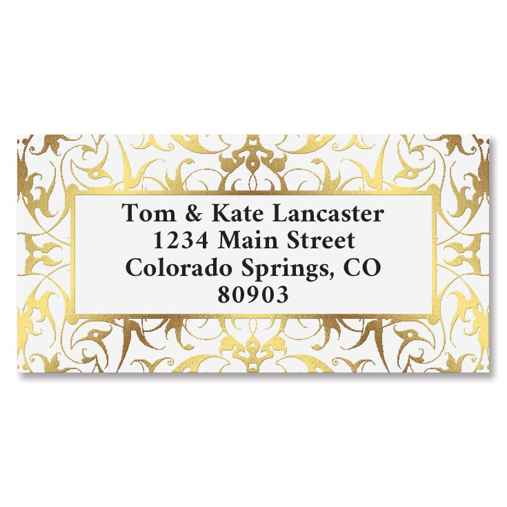 Filagree Gold Foil Border Address Labels
