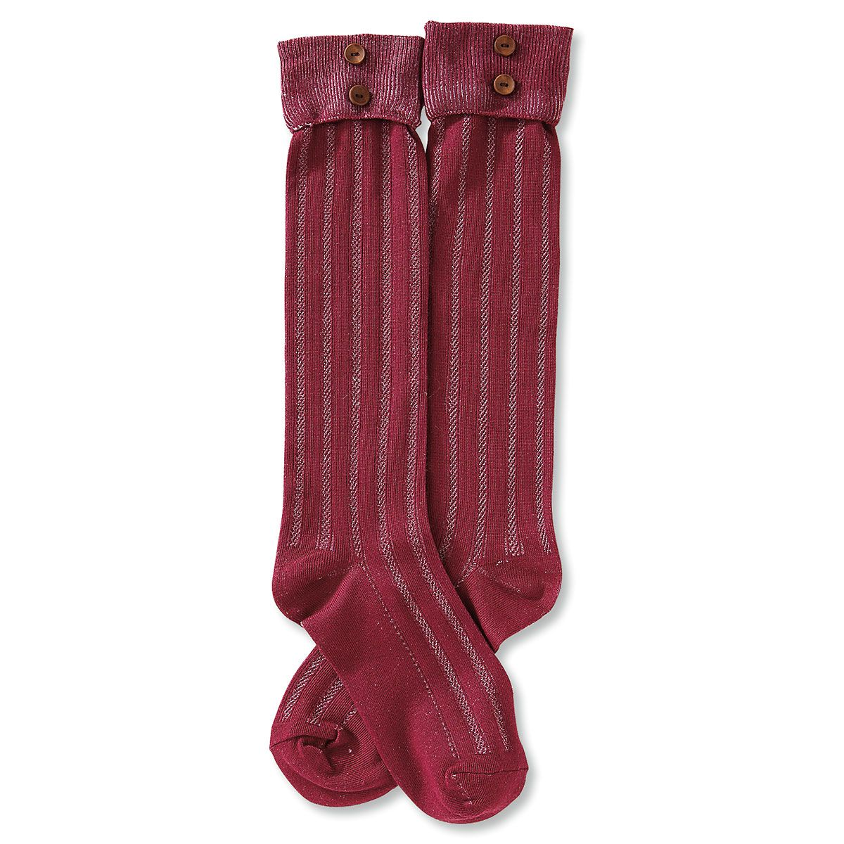 Boot Socks - Burgundy Rolled Cuff