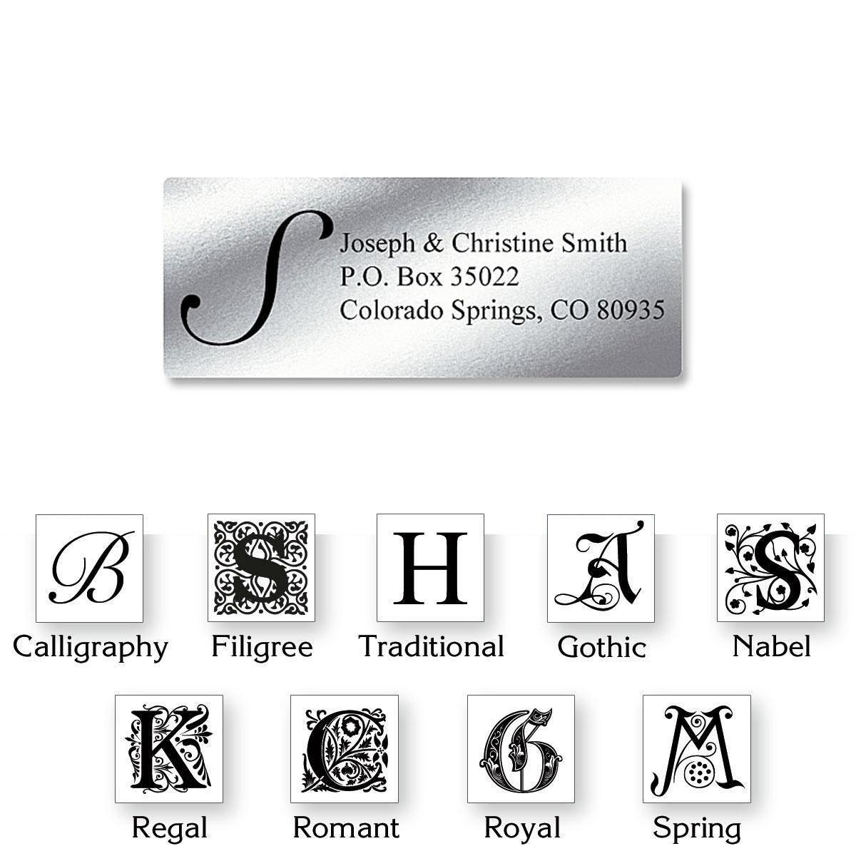Monogram Silver Foil Premier Address Labels - 240 Count Sheets
