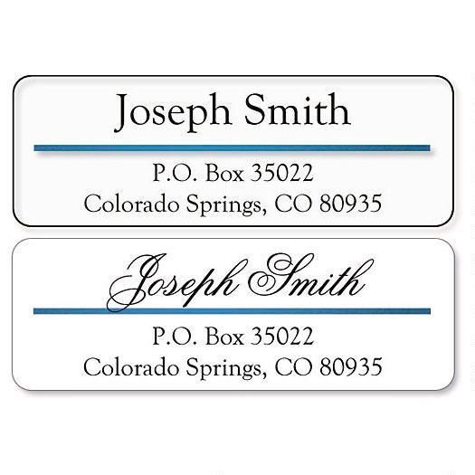 Blue Foil Accent Line Clear Premier Address Labels