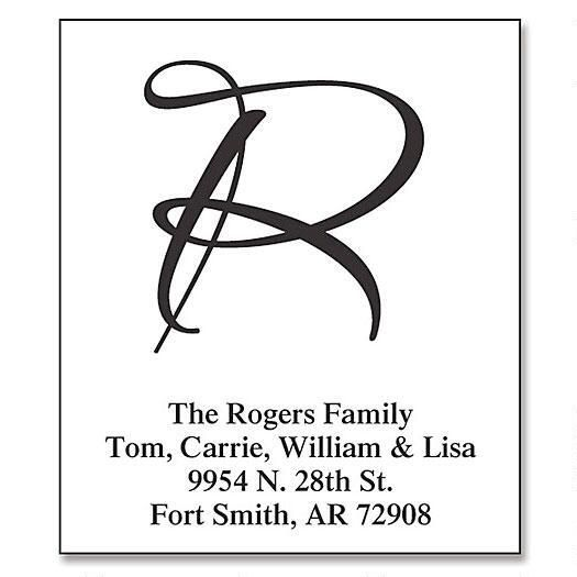 Brush Initials Clear Premium Address Labels