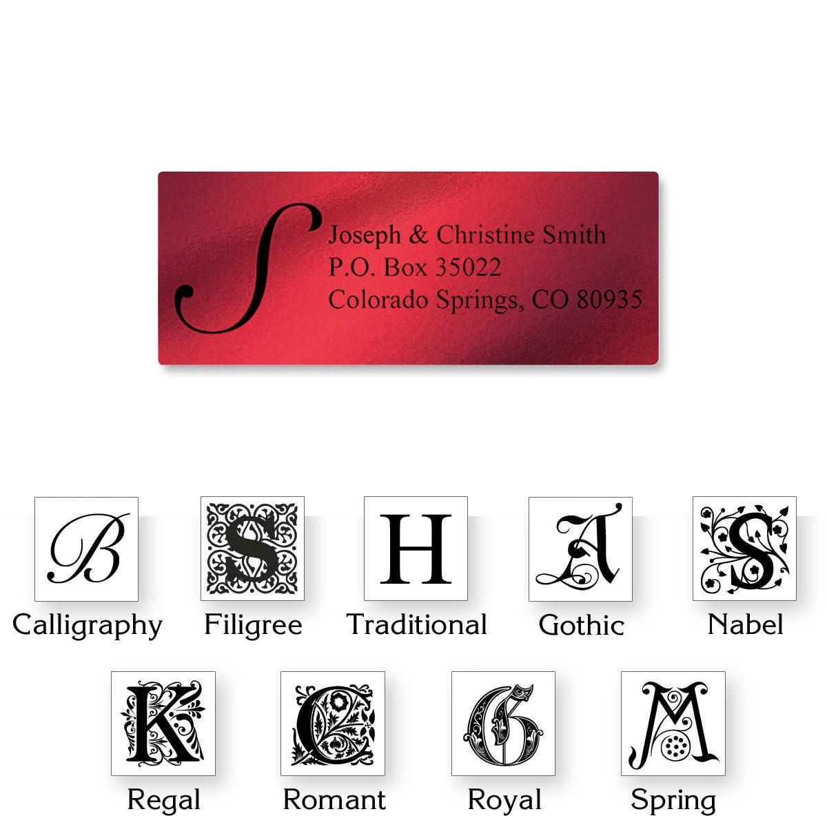 Monogram Red Foil Address Labels - 240 Count Sheets