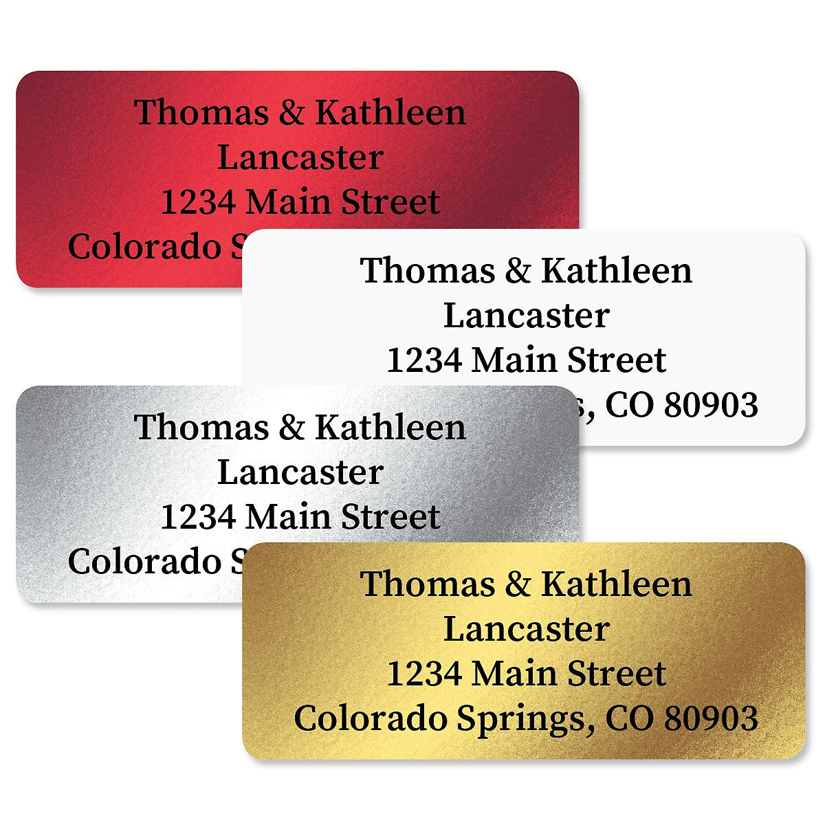 Foil Assortment Die Cut Address Labels  (4 Colors) - 240 Count Sheets