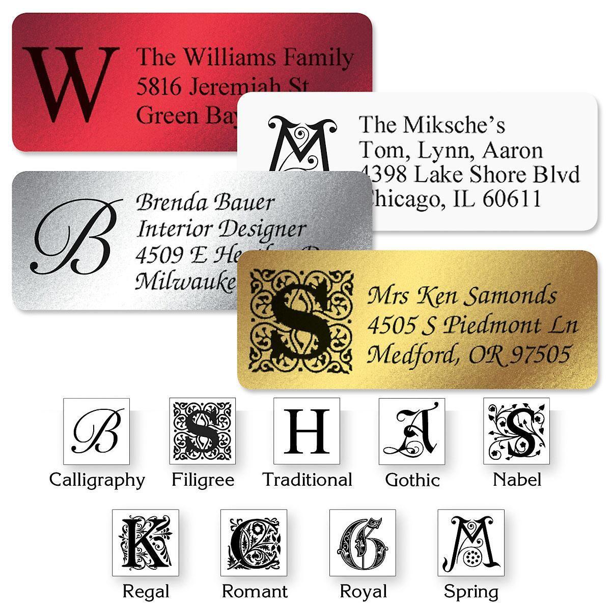 Monogram Foil Address Labels  (4 Colors) - 240 Count Sheets