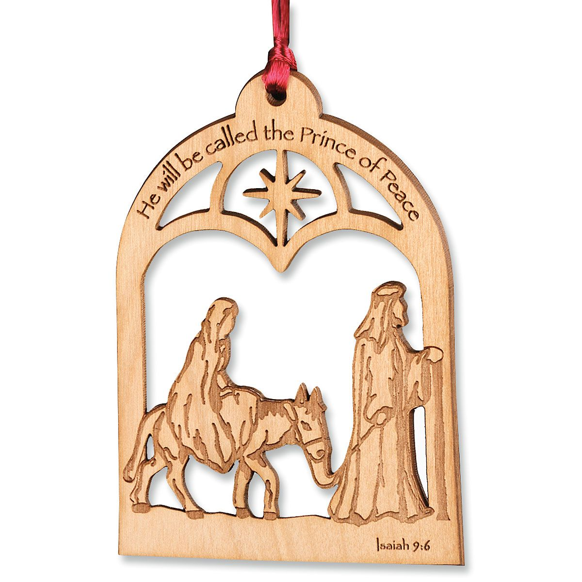Alder Wood Prince of Peace Christmas Ornament