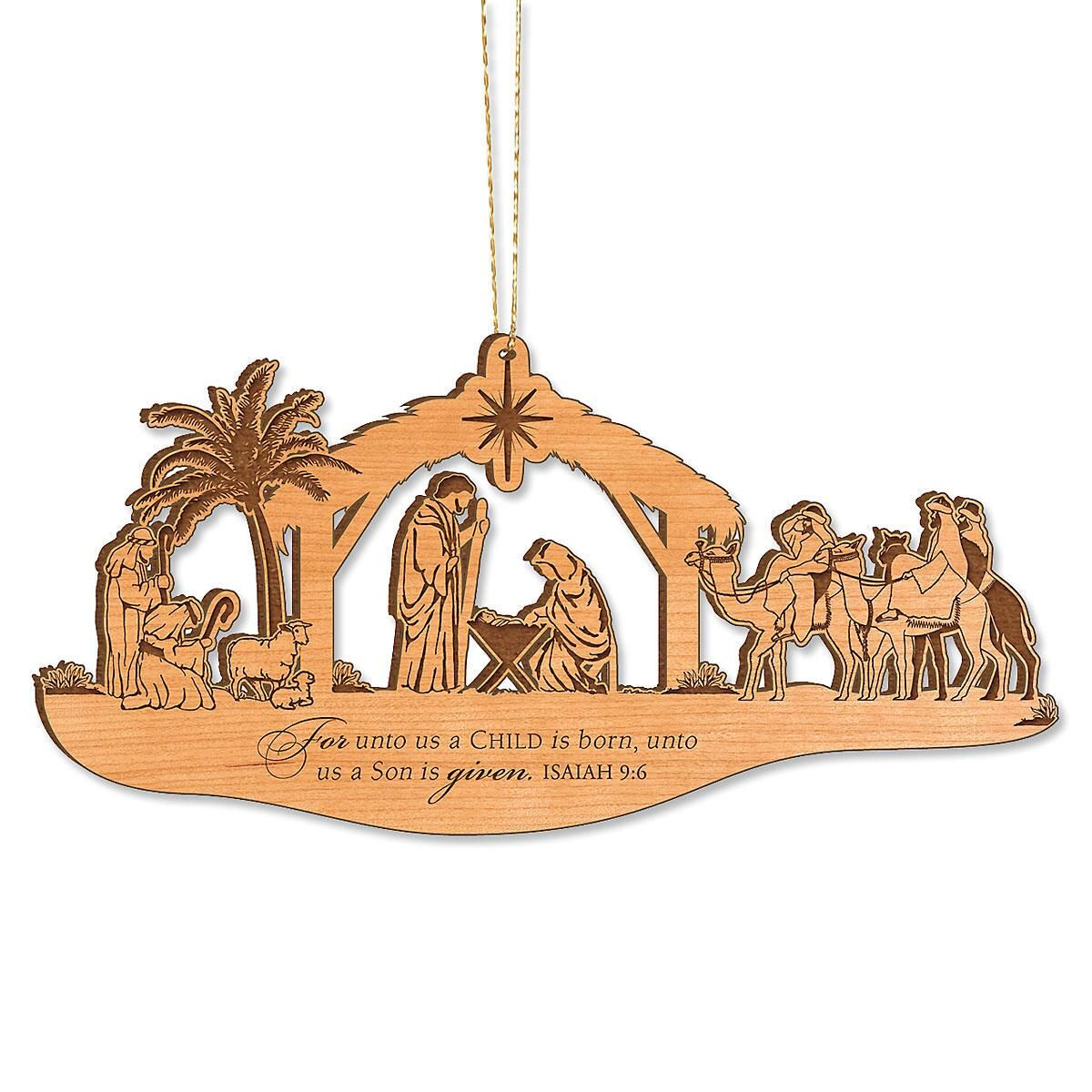 Alder Wood Nativity Personalized Christmas Ornaments