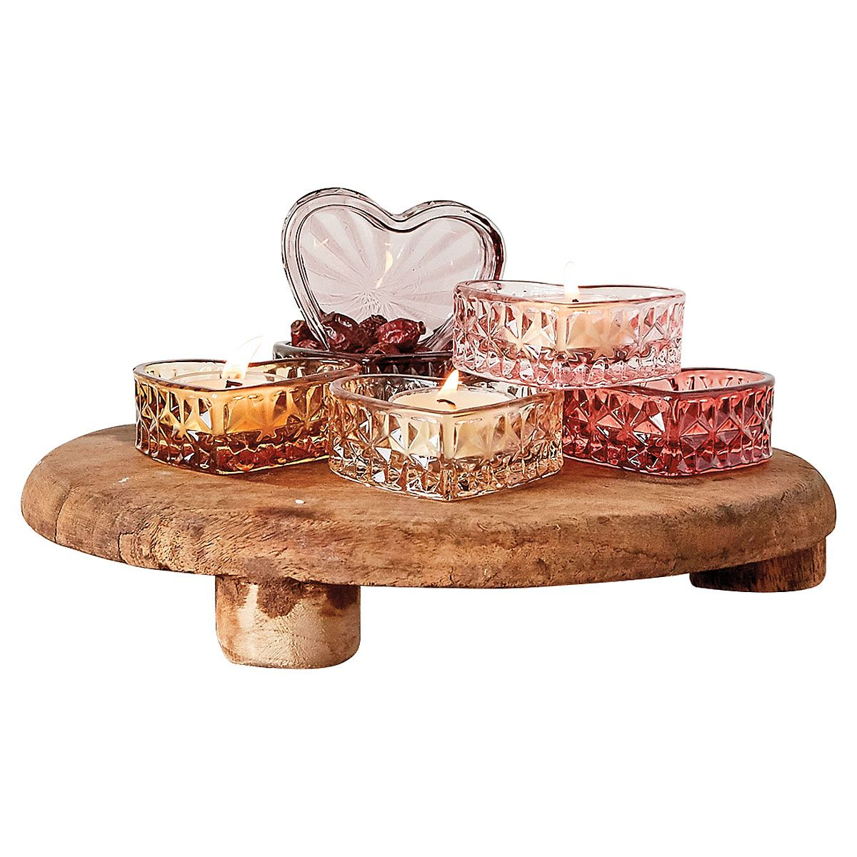 Glass Heart Tealight Holder