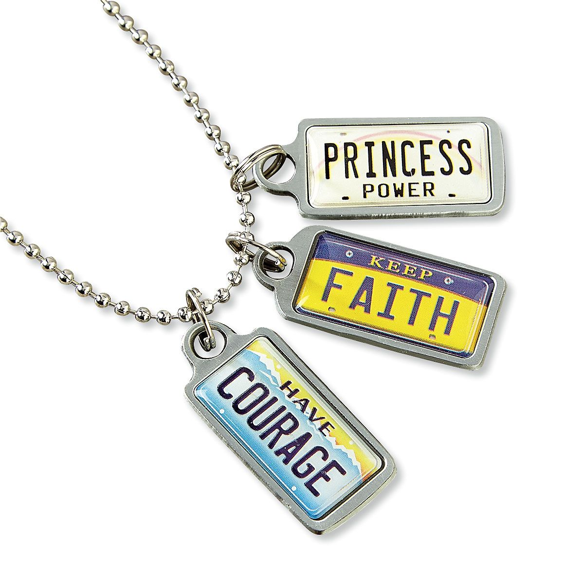 Ball Chain Necklace & License Plate Charms